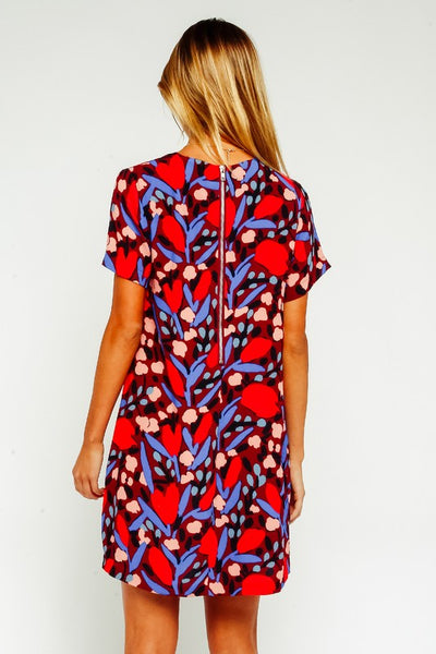 Olivaceous Red Floral Women's Shift Dress