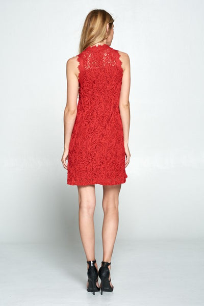 Ellison Red Lace Braid Women's Dress