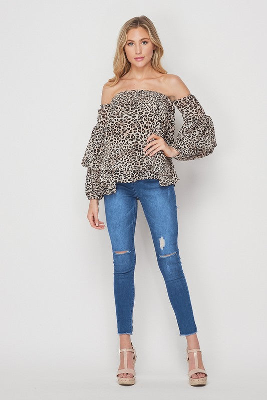 Faith Apparel Animal Print Off The Shoulder Women's Blouse