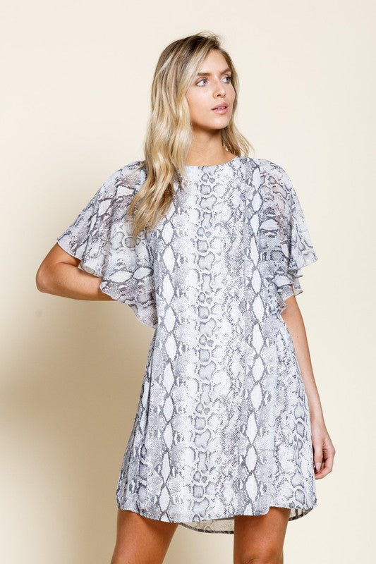 Faith Apparel Gray Flutter Sleeve Women's Dress