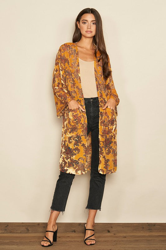Dress Forum Mustard Floral Velvet Women's Duster