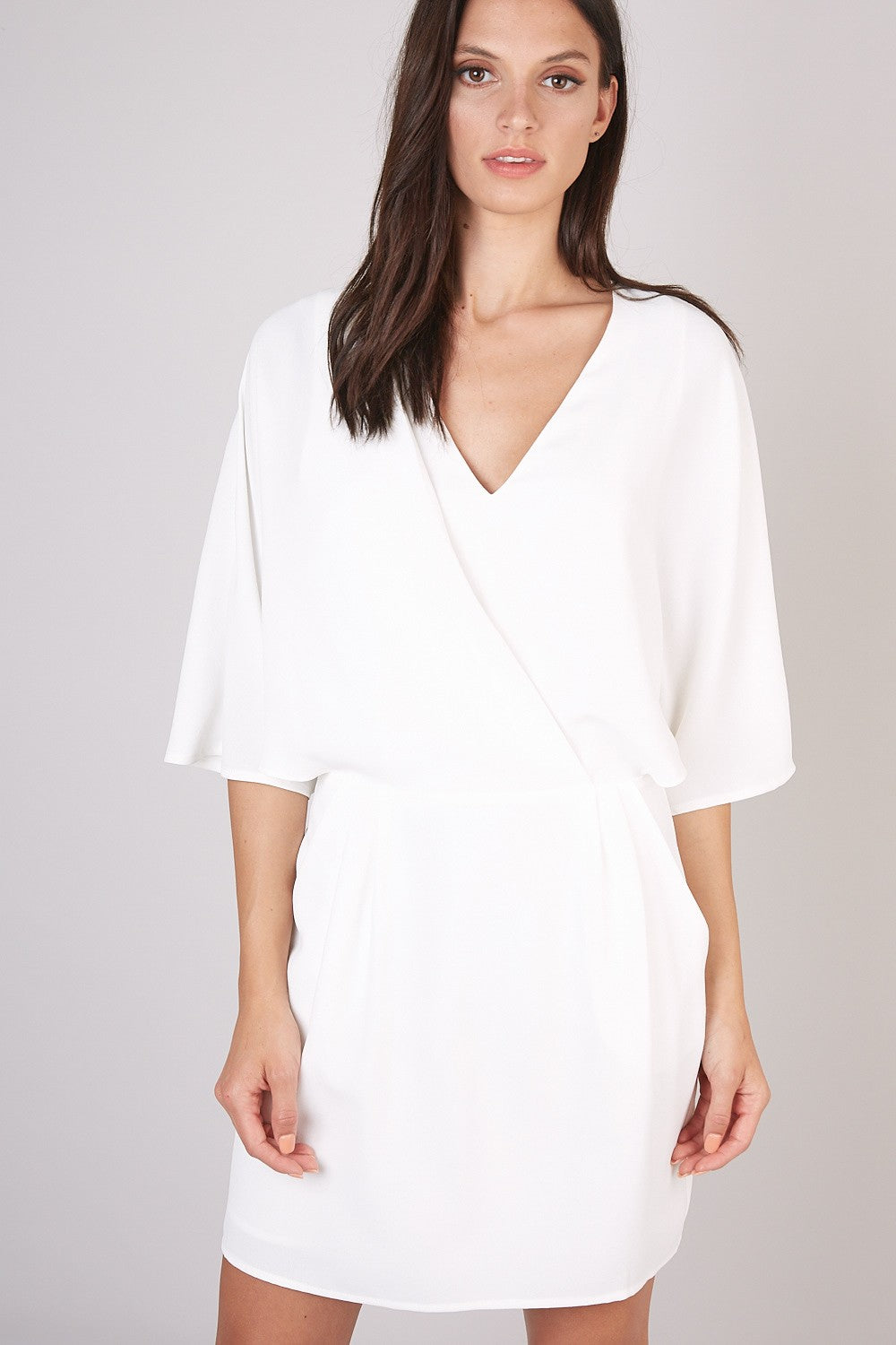 Do+Be White Women's Wrap Dress