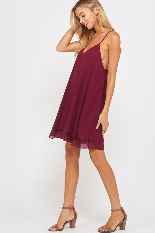 Wish List Swing With Me Burgundy Dress