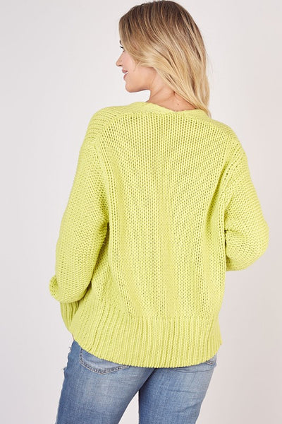 Mustard Seed Electric Lime Knitted Cardigan