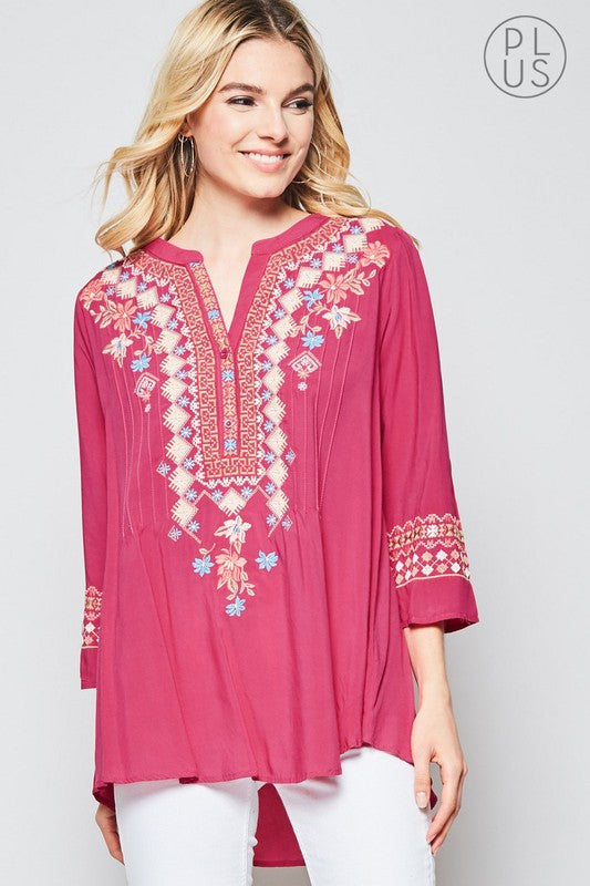 Women's Plus Size Embroidered Tunic