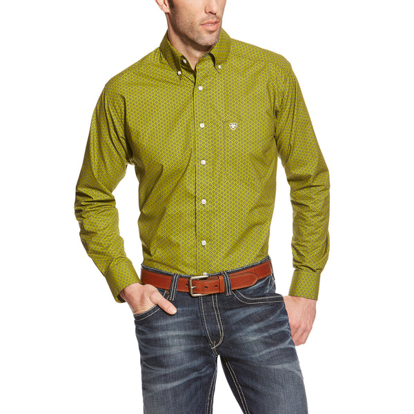 Men's Fitted Green Print Johnson Shirt by Ariat