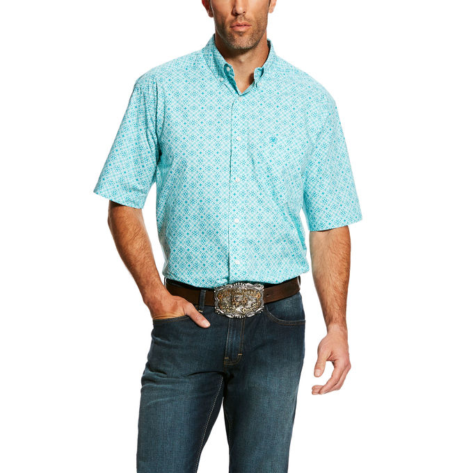 Ariat Hardenbeck Turquoise Print Men's Short Sleeve Shirt