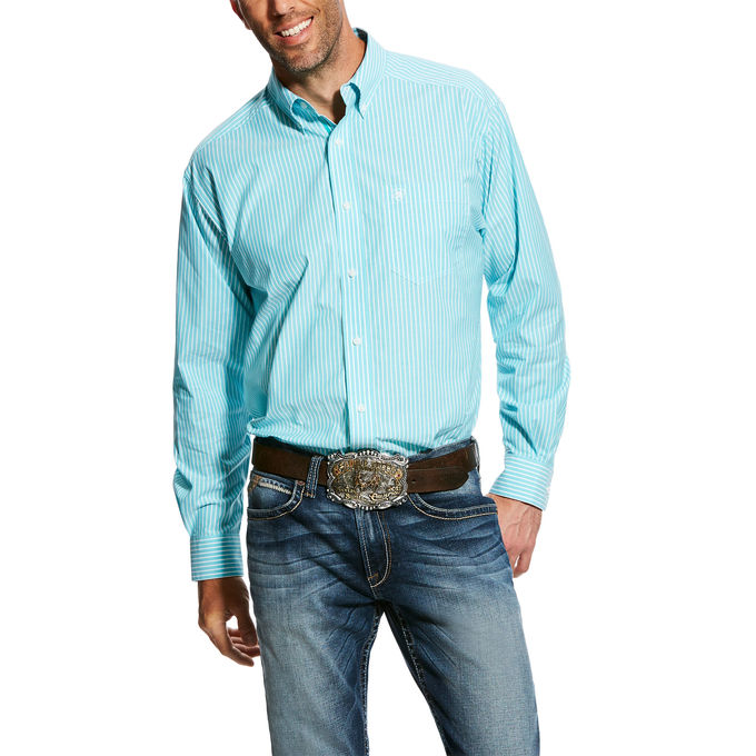 Ariat Griffith Turquoise Striped Long Sleeve Men's Shirt