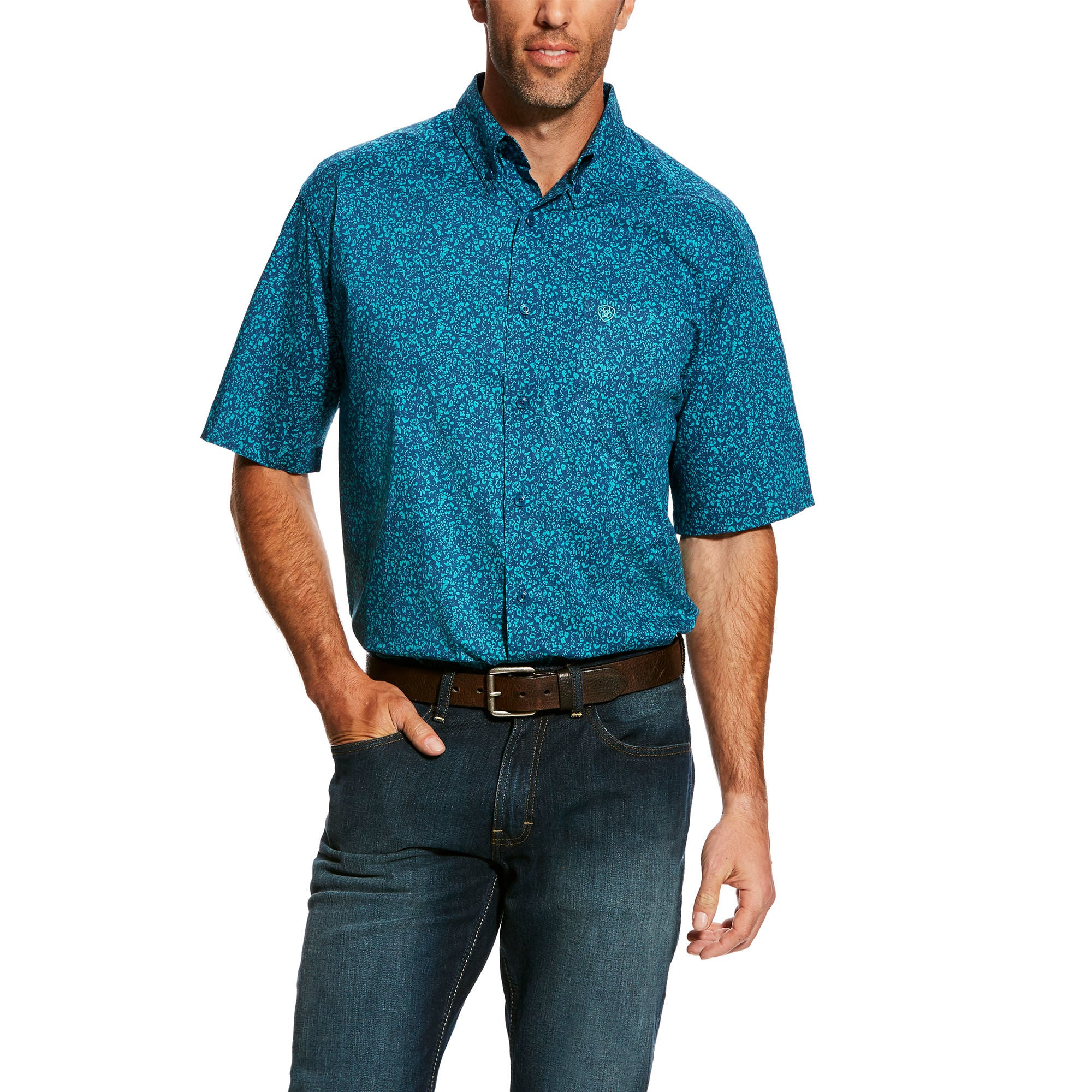 Ariat Hardell Petrol Blue Men's Button Down Shirt