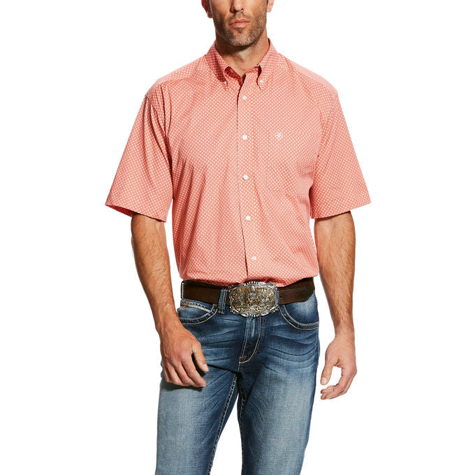 Ariat Harsley Peach Print Short Sleeve Men's Shirt