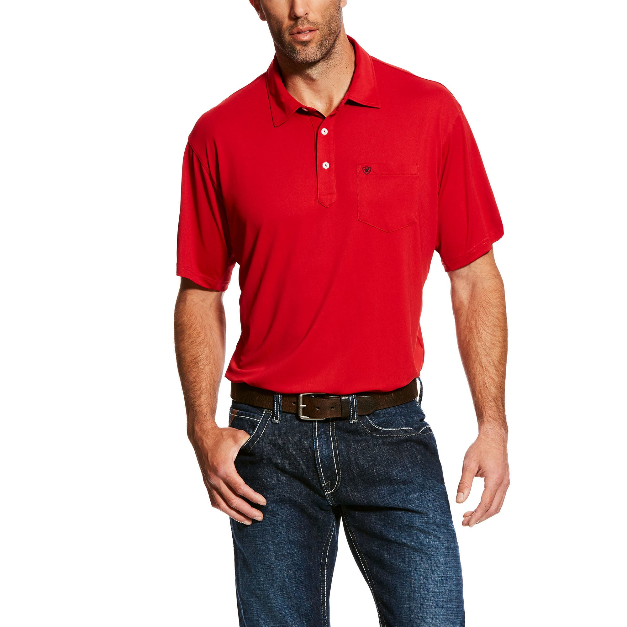 Ariat Freeze Point Red Short Sleeve Men's Polo