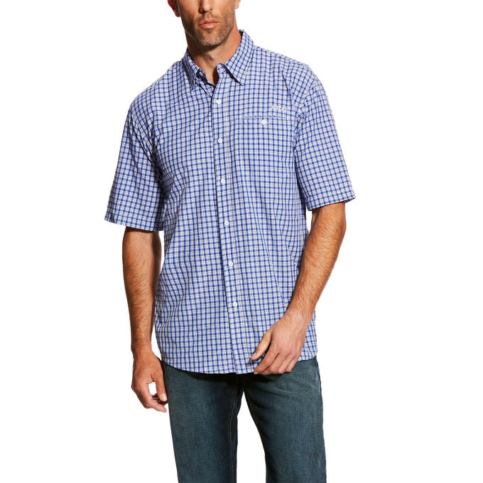 Ariat VentTek II True Blue Plaid Men's Short Sleeve Shirt