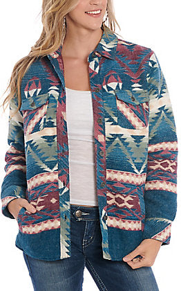 Ariat Real Aztec Blue Women's Shirt Jacket