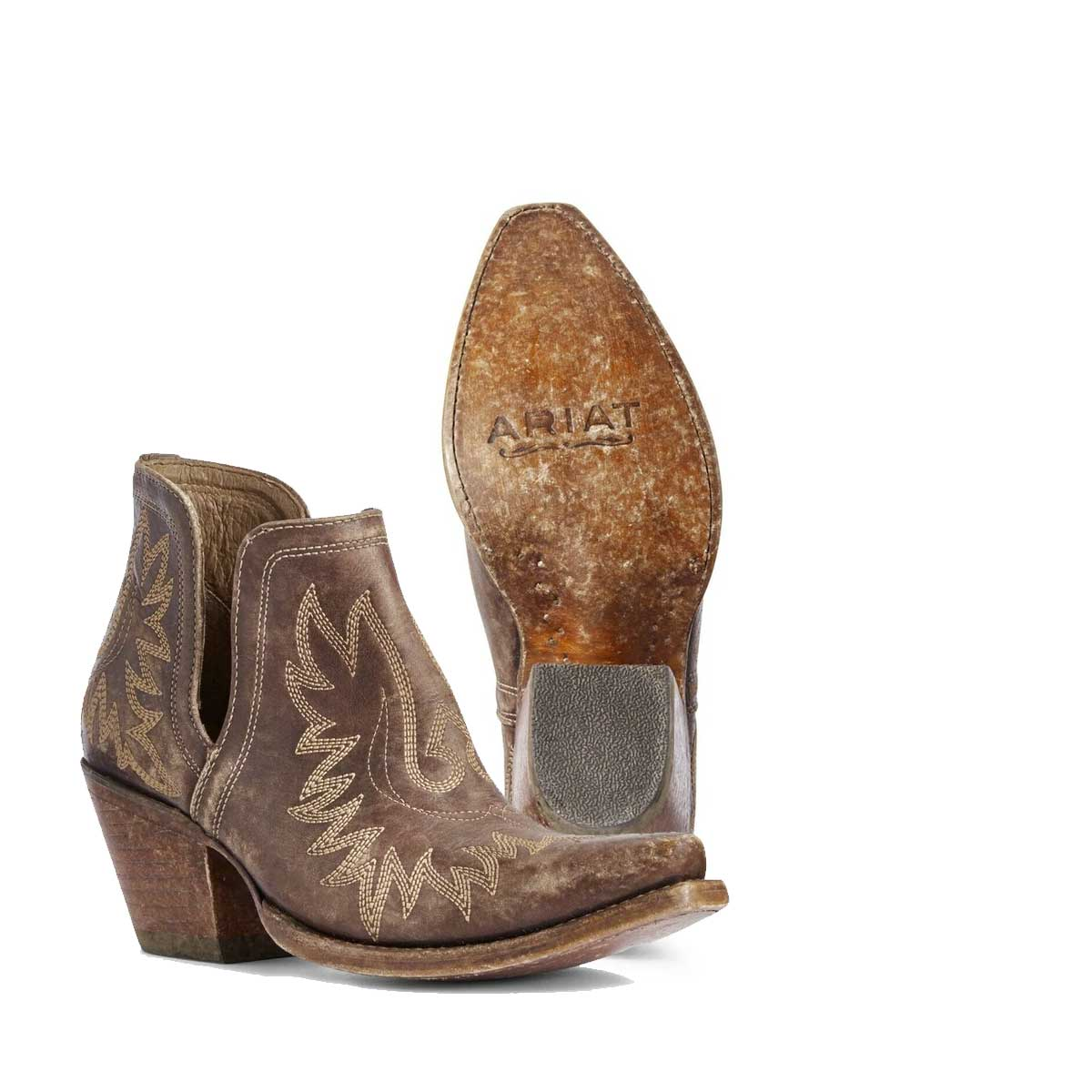 Ariat Ladies Dixon Distressed Brown Western Ankle Boots