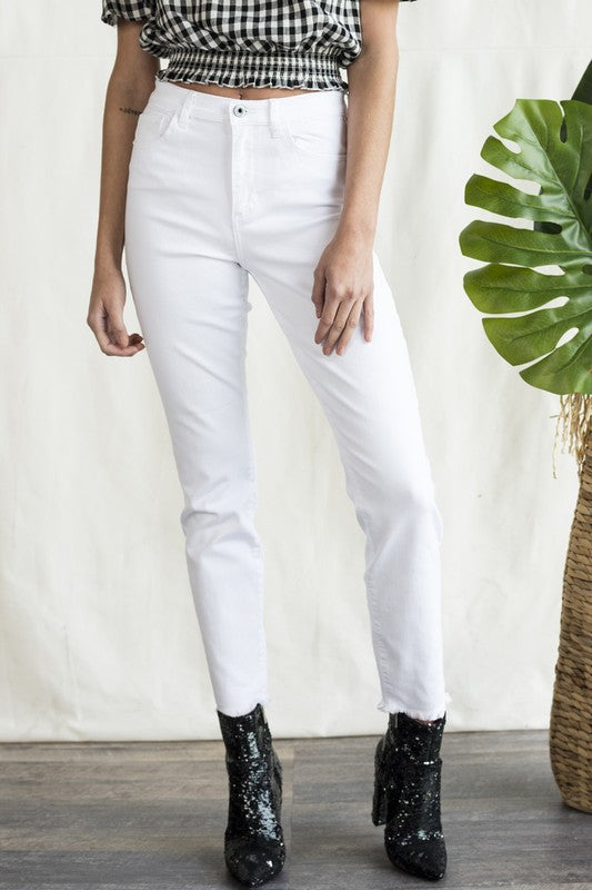 Sneak Peak High Rise Frayed Hem White Skinny Jean