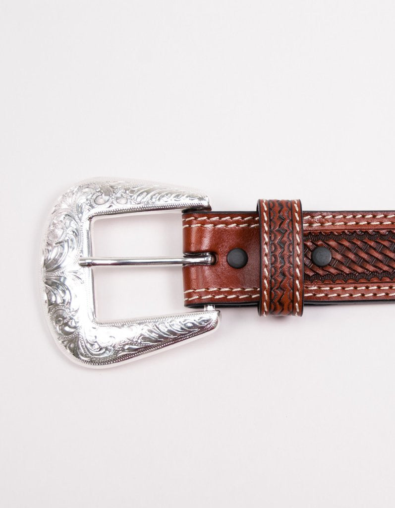 Straight Basket Weave Tooled Leather Belt