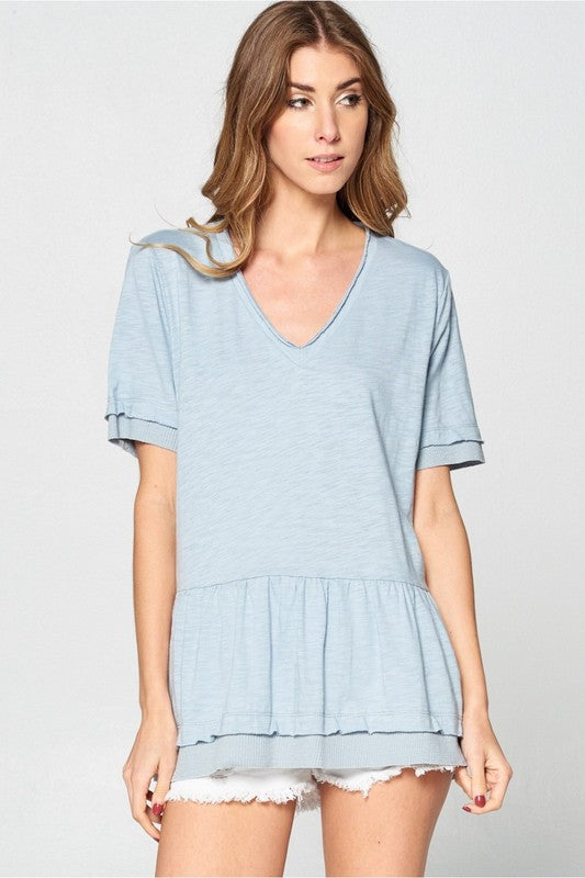 Muted Blue Baby Doll Cotton Top
