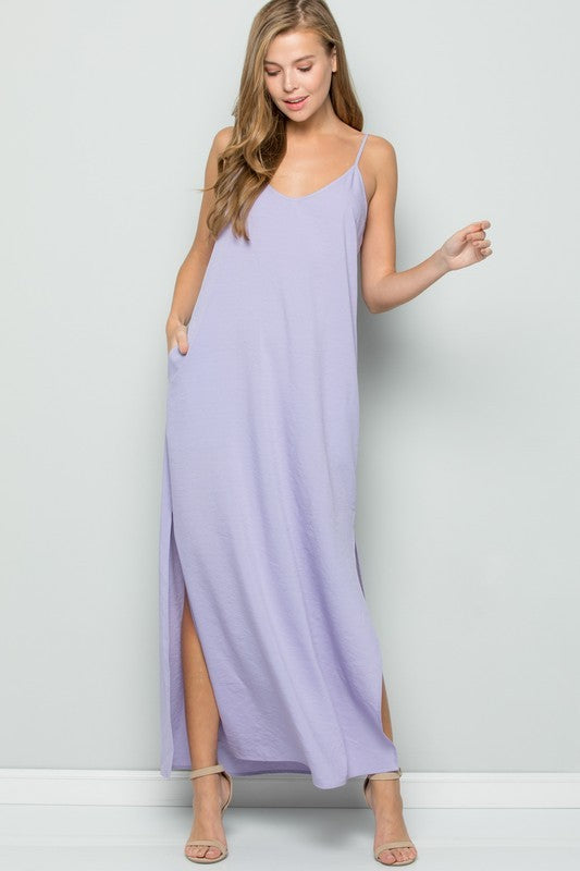 Faith Apparel Lavender Solid Women's Maxi Dress