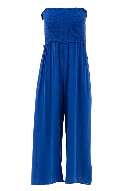 Smocked Strapless Blue Cropped Women's Jumper