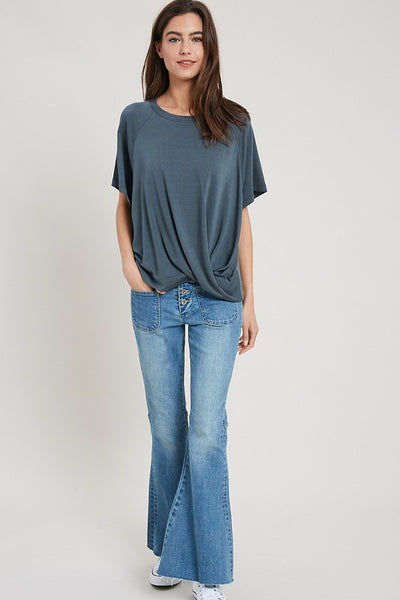 Wishlist Teal Green Twist Front Women's Tee