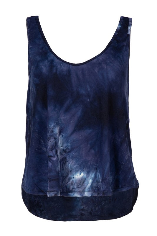 Night Time Tie Dye Print Mid-Crop Tank