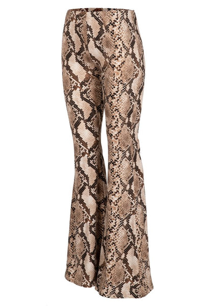Night Out Bronze Snake Skin Bell Bottoms