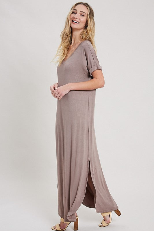 Women's Mocha Slit Mixi Shift Dress