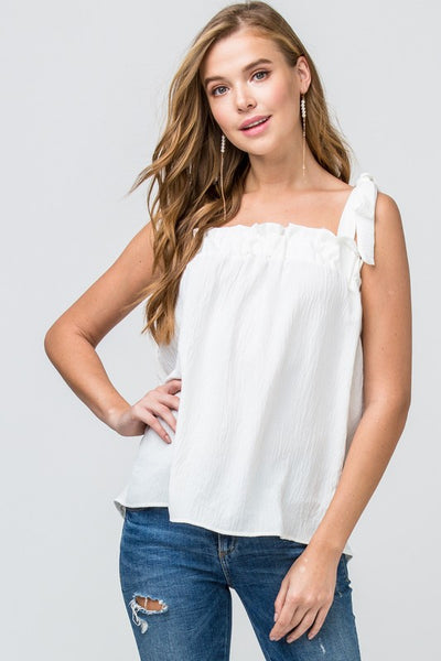 Faith Apparel Self Tie Off White Women's Tank