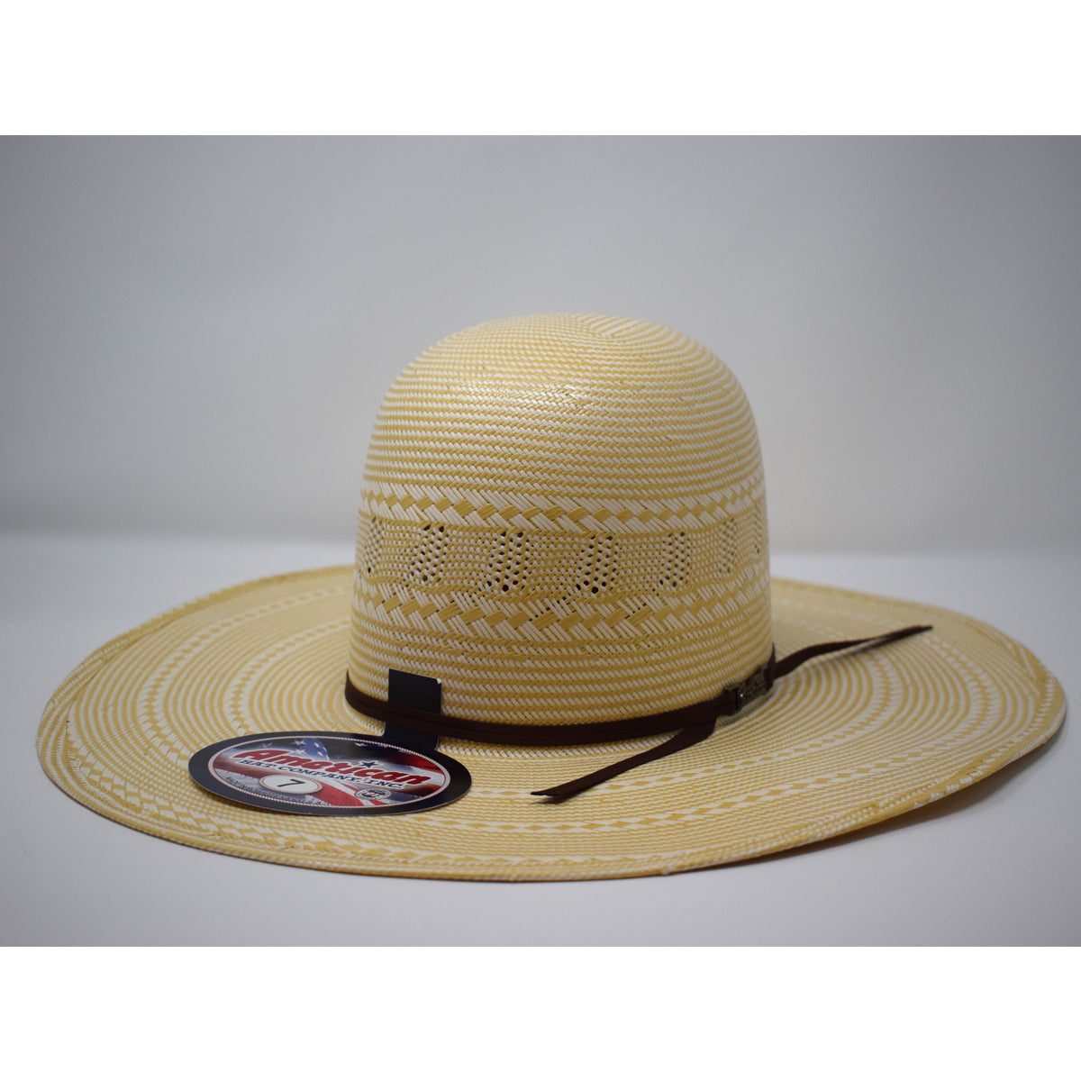 "American Hat Co. 4 1/2"" Brim Chocolate Ribbon Western Straw Hat"