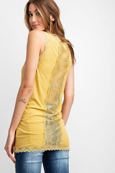 Easel Women's Mustard Sheer Knit Tank