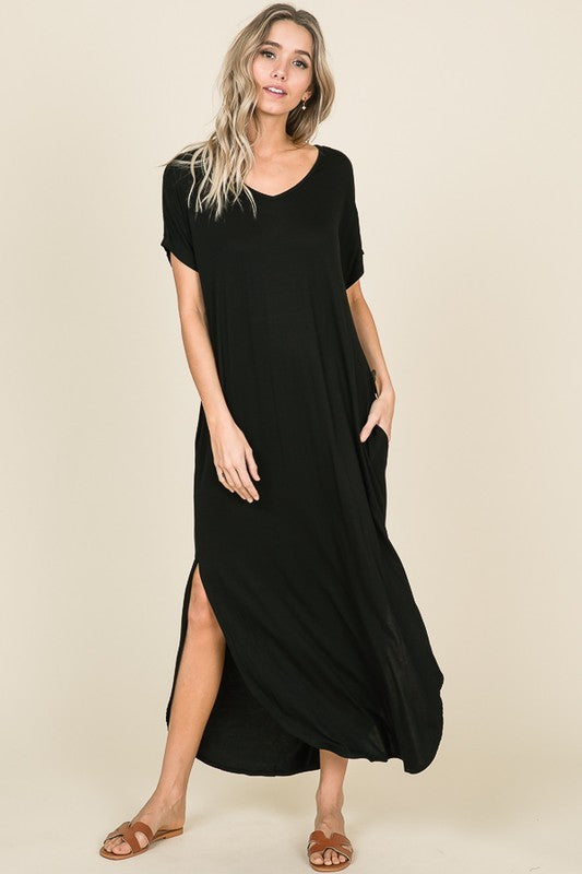 Unlimited Black Two Slit Women's Maxi Dress