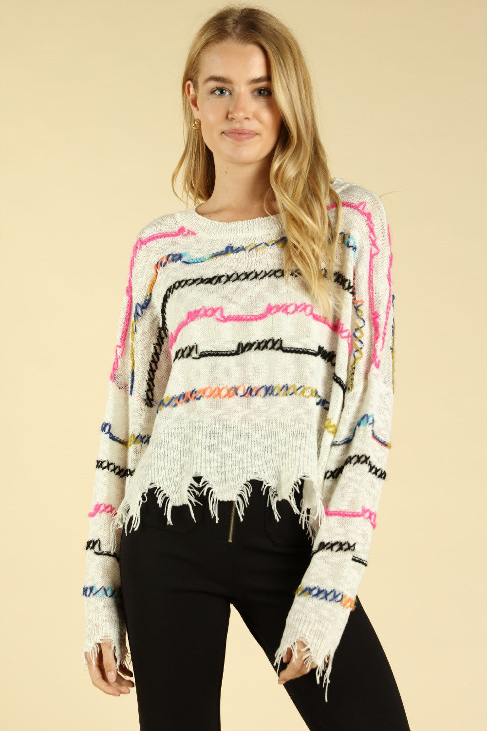 Wild Honey Ivory Multi Strip Women's Sweater