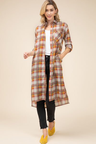 Entro Mocha Plaid Button Down Women's Duster