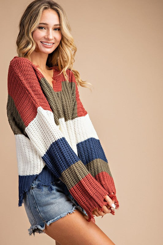 The Favorite Ripped Sweater Stripe Distressed Olive