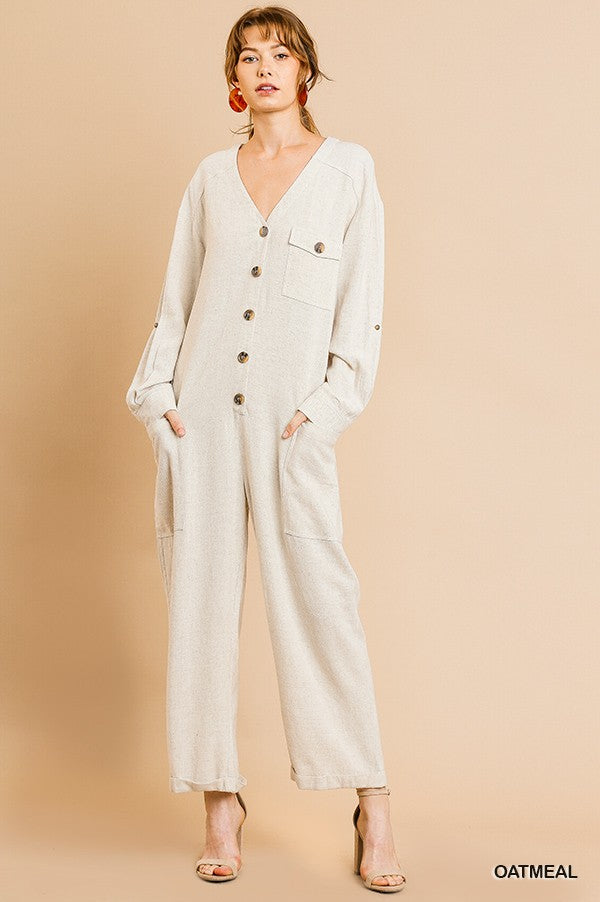 Umgee Oatmeal Lightweight Women's Jumpsuit