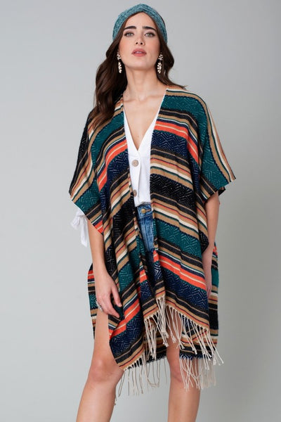 Avenue Zoe Oversized Teal Striped Fringe Women's Cardigan