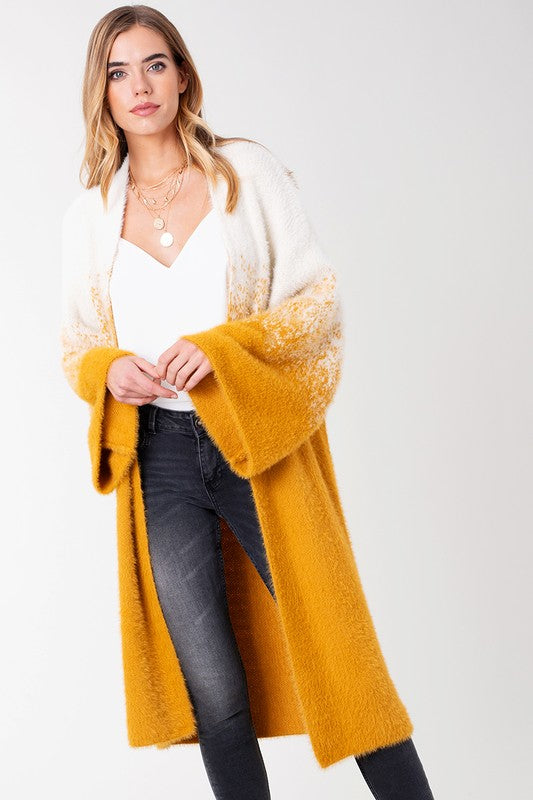 Avenue Zoe Mustard Wide Sleeve Women's Cardigan