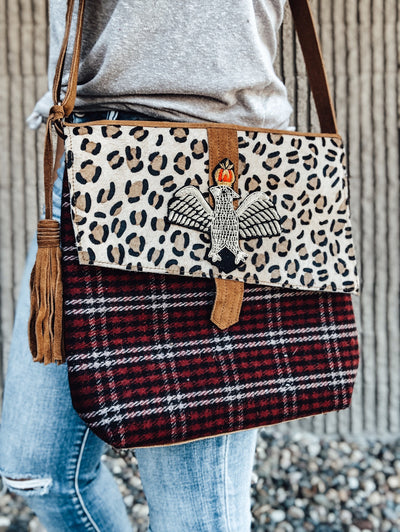 Leopard Eagle Cross Body Woven Bag