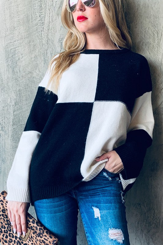 And The Why Black Color Block Women's Sweater