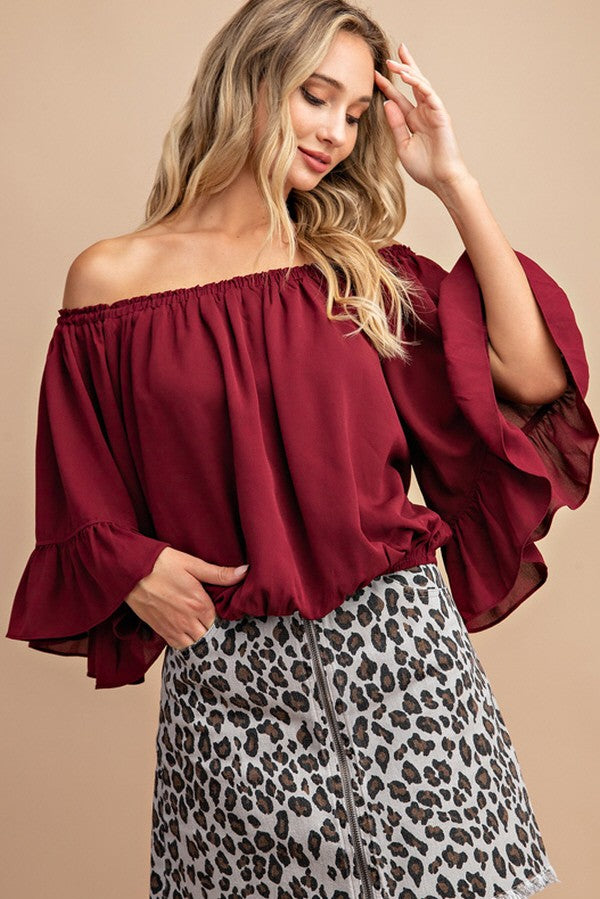 Wine Night Out Off Shoulder Ruffle Top