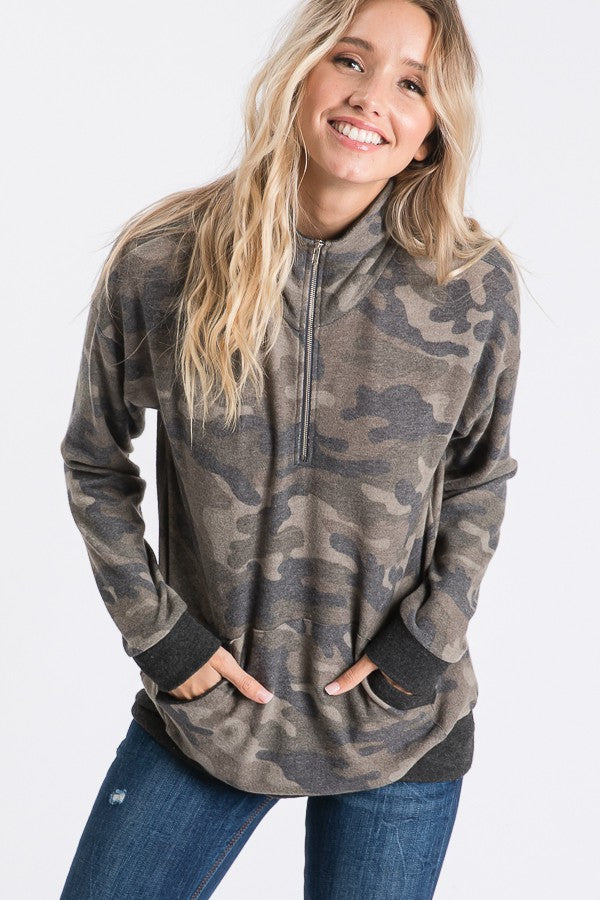 Soft and Cozy Camo Zip Up Sweater
