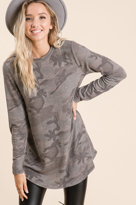 Camp Girl Camo Long Sleeve French Terry Tee