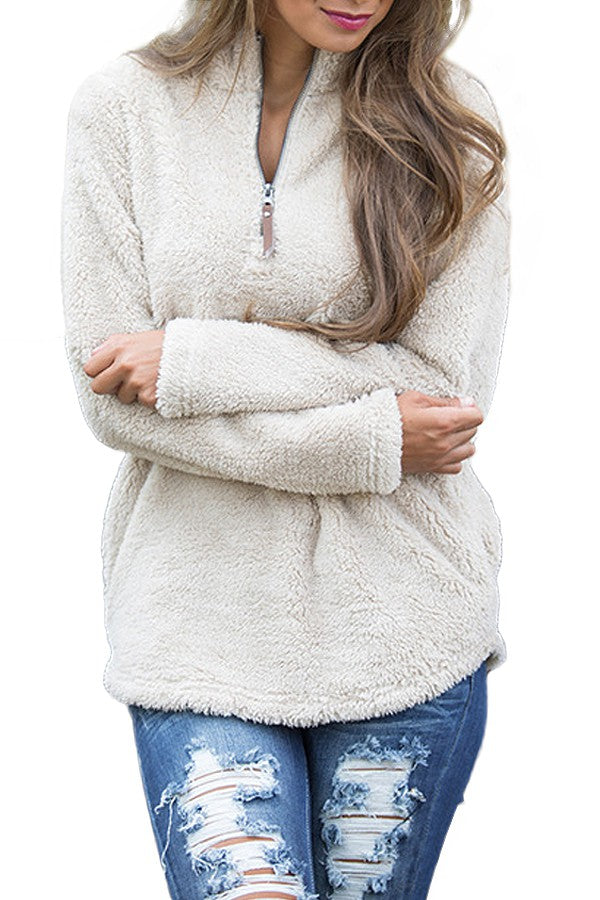 Women's Cream Half Zip Sherpa Pullover