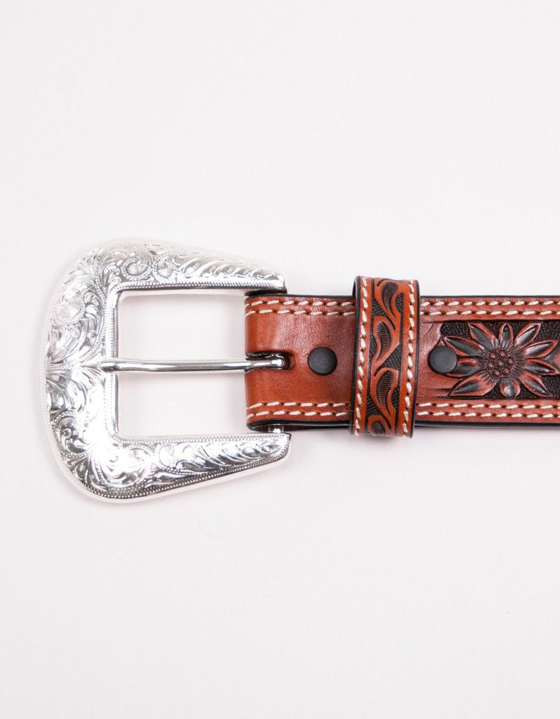 Floral Hand Tooling Saddle Tan Belt