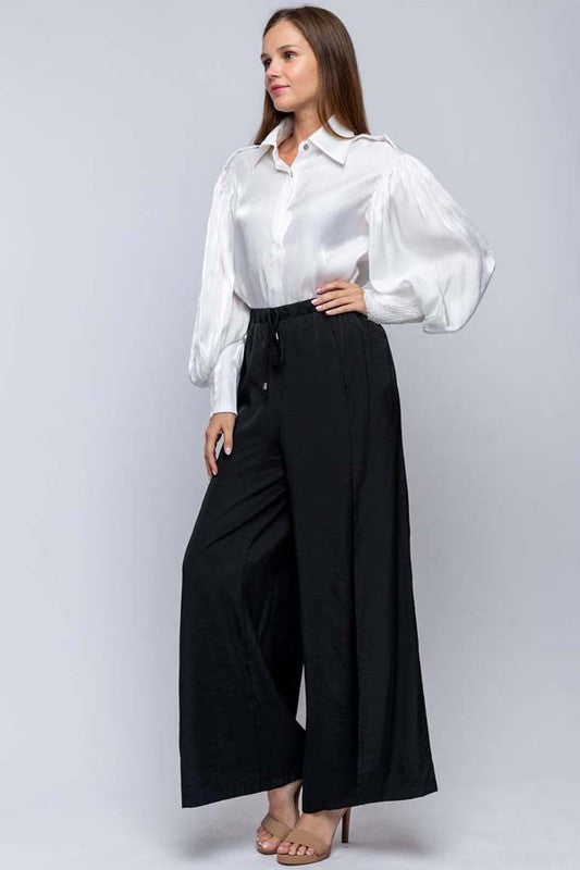 Women's Black Dressy Satin Twill Wide Leg