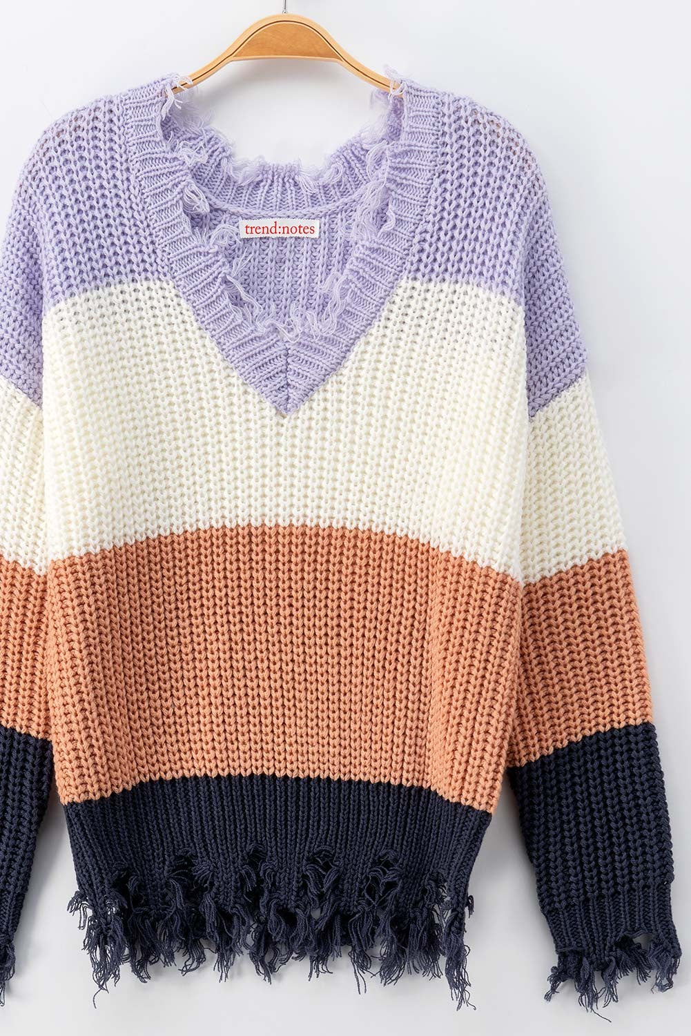 Frayed Hem Crochet Knit Color Block Lavender Sweater