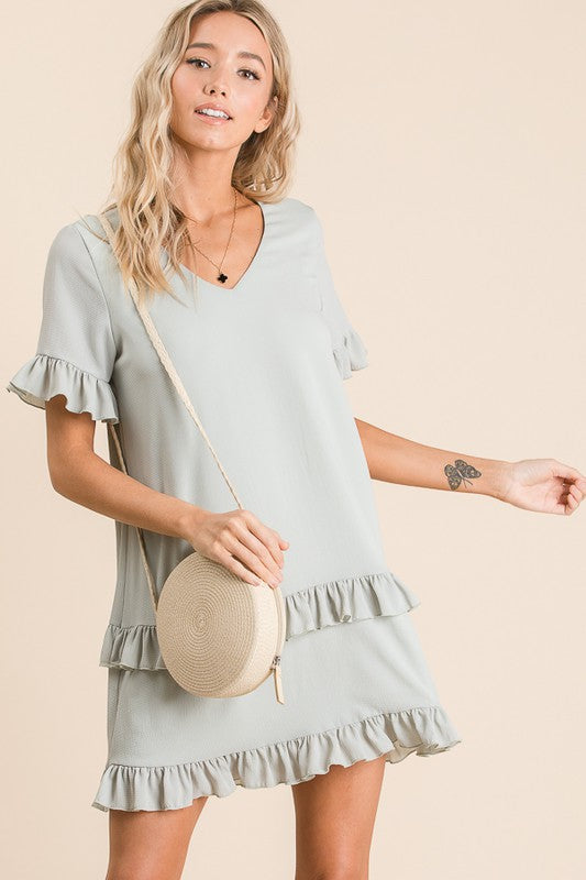 Sage Spring Ruffle Detail Dress