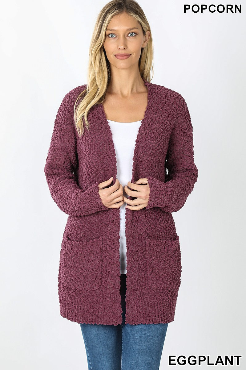 Eggplant Popcorn Cardigan Sweater With Pockets