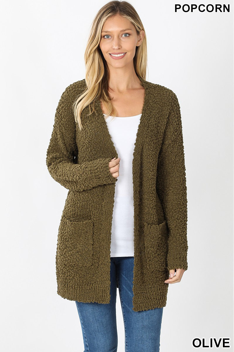 Olive Favorite Popcorn Cardigan Sweater With Pockets