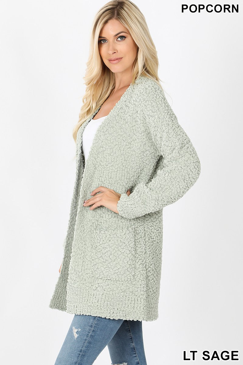 Favorite Light Sage Popcorn Cardigan Sweater With Pockets